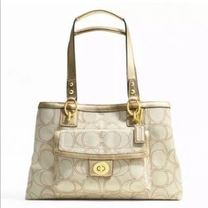 Coach Penelope Canvas Gold Leather Tote F19231